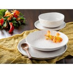 Bring a cozy farmhouse feel to your dinner table with the Kaya collection in white. Delicate speckles adorn each piece for a rustic charm. This set includes 4 dinner plates, 4 salad plates, 4 dinner bowls and 4 soup bowls. Casual Dinnerware, White Dinnerware, Dinnerware Sets, Stoneware Dinnerware, Dinner Bowls, Dinner Plates, Dinner Table, Kaya, Vanilla Bean Ice Cream