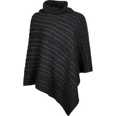 Kinross Cashmere Plaited Cable Poncho - One Size  - Black/Charcoal -... ($292) ❤ liked on Polyvore featuring outerwear, black, turtle neck poncho, turtleneck poncho, poncho turtleneck, cable knit ponchos and cable poncho