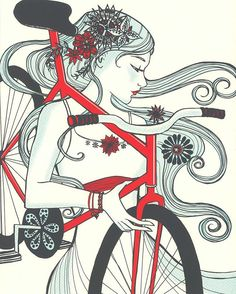 this one is Le Printemps ,which was designed by Courtney Thomas;Art Nouveau poster of a woman with her bicycle influenced by Alphonse Mucha .I think it gives women a feeling of freedom and self-reliance. the picture of free, untrammeled womanhood. Bicycle Print, Bicycle Girl, Bici Fixed, Grateful Dead Poster, Bicycle Quotes, Art Nouveau Poster, Bike Illustration, Bike Poster, Ligne Claire