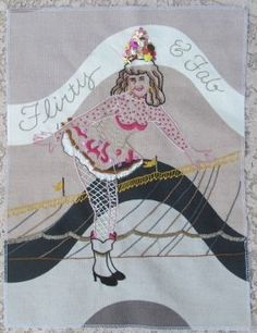 Circus girl embroidery art wall hanging burlesque by Stitchallday, $75.00