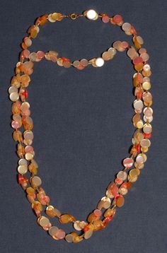 Retro Pearl Button Necklace Pink Yellow Vintage Buttons Beads Hand Made OOAK 55""