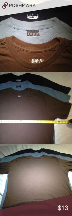 3 unisex basic t-shirts Large mixed brand bundle 3 simple tees. All shirts are pre-owned and may shoe minor ware or imperfections. Good condition and ready to be added to your arsenal. Bundle to save even more! Shirts Tees - Short Sleeve