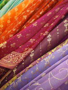 Colorful sari fabric