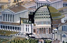Pantheon, rebuilt between AD 120 and 124 in the reign of the emperor Hadrian.  Cutaway drawing of the Pantheon, showing the inside of the building. The hemispherical dome is 43.28 metres in diameter, and if completed would exactly touch the ground. The only light falls through an eight-metre wide gap in the top (see note in right hand column). (From Helen and Richard Leacroft, The Buildings of Ancient Rome, Brockhampton Press 1969)