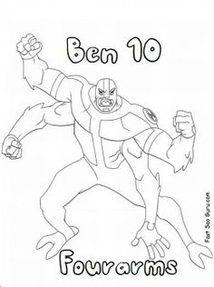Printable Ben 10 characters alien fourarms coloring pages for kids. Free online how to draw pictures Printable #Ben10 characters #alien #fourarms coloring pages for kids