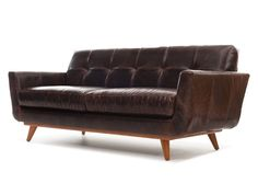 Brown Leather l Nixon Leather Sofa l Thrive Furniture l Handmade Midcentury Modern l Made in America