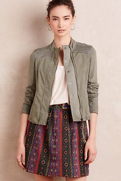 Olive knit jacket with white tee and patterned a-line skirt #anthropologie