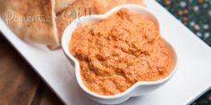 Muhammara, pasta árabe de pimentão vermelho. Muito simples de se fazer e com um sabor adocicado. Receita de pasta de pimentão vermelho. Como fazer Muhammara