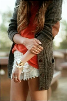 cozy and dressy - chunky sweater with lace shorts. man, i need me some white lace shorts