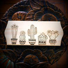 Cactus en tablero de madera  pirograbado por WDINGofficial en Etsy