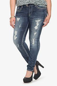 Silver Jeans - Tuesday Destructed Skinny Jeans ($102.00 @ Torrid.com)