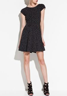 ++ Black Galaxy Print V-back Collar Dress