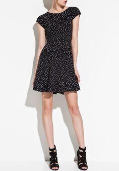 ++ Black Galaxy Print V-back Collar Dress