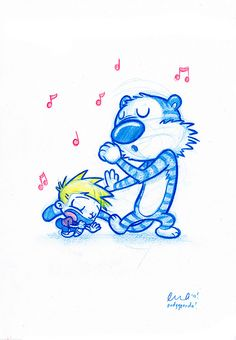 Blue Doodle #23: Calvin and Hobbes! get their Karaoke on | Flickr - Photo Sharing!