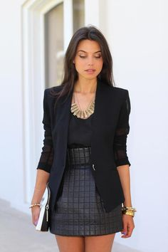 blazer w/ sheer sleeves + quilted leather skirt