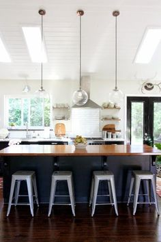 midcentury kitchen mini pendant lighting over island - Google Search