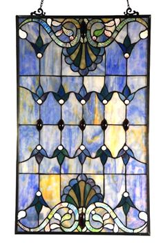 This blue stained glass window panel would look great in a three season porch.