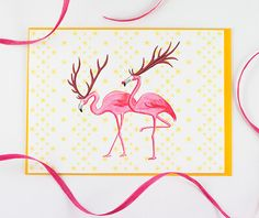 Christmas Card of Pink flamingo in santa reindeer on Etsy, $4.90