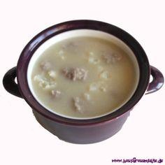 einfache Blumenkohlsuppe das Rezept für eine einfache Blumenkohlsuppe mit Bratwurstklösschen - schnell gemacht, preiswert und lecker