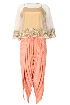 Ridhi Arora presents Light peach floral zari embroidered cape with an inner and banarasi dhoti pants set available only at Pernia's Pop Up Shop.