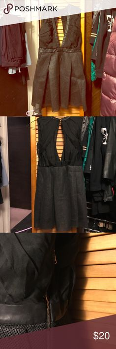 Three floor cut away full skirt dress. Amazing and different LBD by three floor, satiny fabric up top, leather around waist opens to a fuller tulle skirt. Size XS. Three Floor Dresses Mini