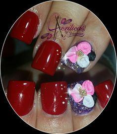 #acrilicasbyvanessa #pinkandred