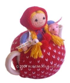 Margaret The Farmer with her Baby Pig and Little Goose Tea Cosy knitting pattern Pdf $4.50 on Etsy at http://www.etsy.com/listing/51924422/lovely-margaret-the-farmer-with-her-baby