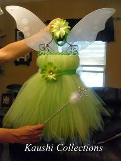 Disfraz de campanilla, con tules en verde pistacho... Alas incluidas.
