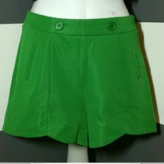 "??Gorgeous Green Shorts NWOT Brand New, no tags.  Make them green with envy in these gorgeous green shorts. Pair these beauties with a white shirt, heels and floppy hat or with a playful top and flip flops! So many ways to style these shorts!!   Faux Pockets Length approx 12.5"" Material 100% polyester Hidden zipper on side  (CROP Top is also available in my closet) (Models are for style examples, not actual shorts) Shorts"