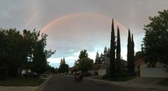 Noah's rainbow above us, we only saw it because we were out that evening riding our bikes