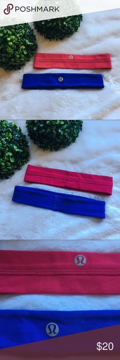"""Set of 2 Lululemon Headbands Selling as a set only so no separating. Set of 2 Lululemon headbands in excellent preloved condition. One size fits all. The blue one has inside grips so it won't slip around and measures 1.5"""" wide. The magenta one does not have grips on the inside and measures 1.75"""" wide. No flaws to either of them. I'm only looking to sell at this time so sorry but no trades. My listing price is firm. lululemon athletica Accessories Hair Accessories"""