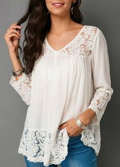 Fashion Sketchbook Lace Patchwork Button Up White Blouse Trendy Tops, Lace Tops, Street Style Women, Blouse Designs, Designer Dresses, Fashion Dresses, Womens Fashion, Latest Fashion, Outfits