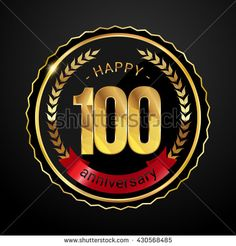 100 golden anniversary logo with red ribbon, low poly design number