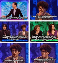 Richard Ayoade and Noel Fielding on Big Fat Quiz of the Year 2010 :D Richard Ayoade, Mock The Week, Jimmy Carr, The Mighty Boosh, It Crowd, British Comedy, British Humour, Nerd, Noel Fielding