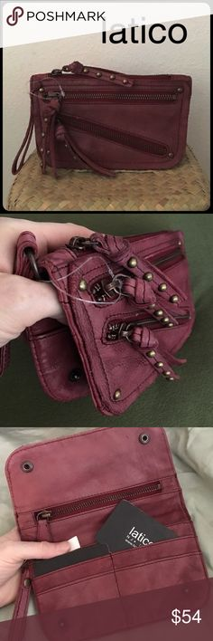 "Distressed Double Zip Latico Jossie Clutch Wallet JOSSIE Clutch by Latico in Burgundy. 100% leather 1/2"" wide carry handle Top zip entry Exterior front features decorative studs, two zip pockets with decorative stud leather pulls Interior features zip pocket, 6 credit card slots, open slit pocket and 2 snap closures Similar design as the free people distressed double zip wallet... Special note: these wallets are washed after dying, so the colors may be more faded or more saturated…"