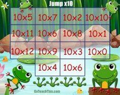 Multiplication Game - Ten Times Table - Jump Multiplication Games, Multiplication And Division, Maths, Math Classroom, Classroom Organization, School Age Activities, Times Tables, Classroom Inspiration, Table Games