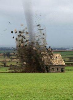 Tornado Destroying Barn