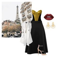 """""""France in Spring"""" by cat-anaya ❤ liked on Polyvore featuring Miss Selfridge, Giuseppe Zanotti, Emporio Armani, Lime Crime and Kenneth Jay Lane"""