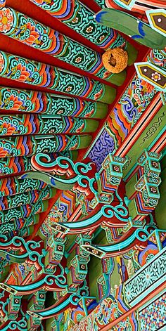 Temple detail . South Korea New Chinese, Chinese Art, Chinese Buildings, Chinese Dragon Tattoos, Asian Architecture, South Korea Travel, Temple Design, Buddhists, Taoism