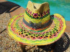 Painted Dessert Ladies Straw Hat Womens by RoseManorGiftsandArt
