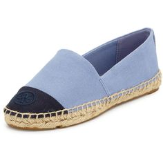 Tory Burch Canvas Cap-Toe Espadrille (355 SAR) ❤ liked on Polyvore featuring shoes, flats, espadrilles, flat shoes, blue, tory burch shoes, cap toe flats, tory burch flats and blue flat shoes