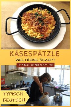 Käsespätzle - typisch deutsches Rezept Cheese spaetzle - typical German recipe that our backpackers cook for strangers on their world tour: www. Travel dinner recipes for family Easy Family Dinners, Family Meals, Easy Meals, Raw Food Recipes, Pasta Recipes, Dinner Recipes, Meatloaf Recipe With Carrots, Breakfast Time, Breakfast Recipes