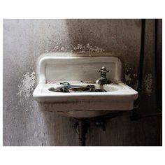 Sink Photograph, Bathroom Decor, Bathroom Art, Abandoned Photography,... (100 PLN) ❤ liked on Polyvore featuring home, home decor, wall art, photographic wall art, photo wall art, industrial home decor, white wall art and industrial wall art