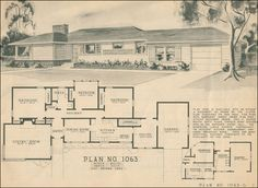 Mid century 1945 1970 modern ranch home on pinterest for 1950s ranch house plans
