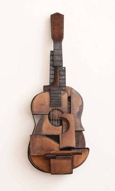 For Sale on - Guitar by Koji Takei. Offered by William Turner Gallery. Abstract Sculpture, Wood Sculpture, Sculpture Projects, Art Sculptures, Cardboard Art, Guitar Art, Guitar Design, Assemblage Art, Art Music