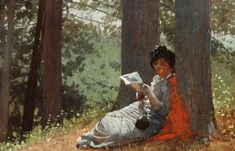 Thursday Picture – Girl Reading Under An Oak Tree – Girl with her Head in a Book