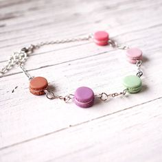 Cute Mini Macaroon Bracelet,  Handmade Polymer Clay Miniature Food Jewelry Cute Macaroon Bracelet
