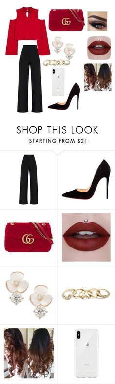 """""""Red❤️❤️"""" by datcualexandra ❤ liked on Polyvore featuring Christian Louboutin, Gucci, Kate Spade, GUESS and Rebecca Minkoff"""