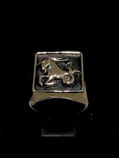 BRONZE MENS COSTUME RING CAPRICORN CAPRICORNUS ZODIAC ANTIQUED Zodiac Rings, Costume Rings, Bronze Ring, Sagittarius, Antiques, Art, Antiquities, Art Background, Antique