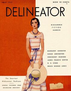 Delineator 1931-07 Woman in casual dress with large straw hat. Midsummer Fiction Number, with items by Margaret Sangster, Sarah Addington, Coningsby Dawson, James Francis Dwyer, G. B. Stern, and Grace Hegger Lewis.   Artist:  Source: babbette's stuff Restoration by: magscanner  Date: 10/08/2013 Owner: Magazine Art Gallery Administrator Full size: 650x826
